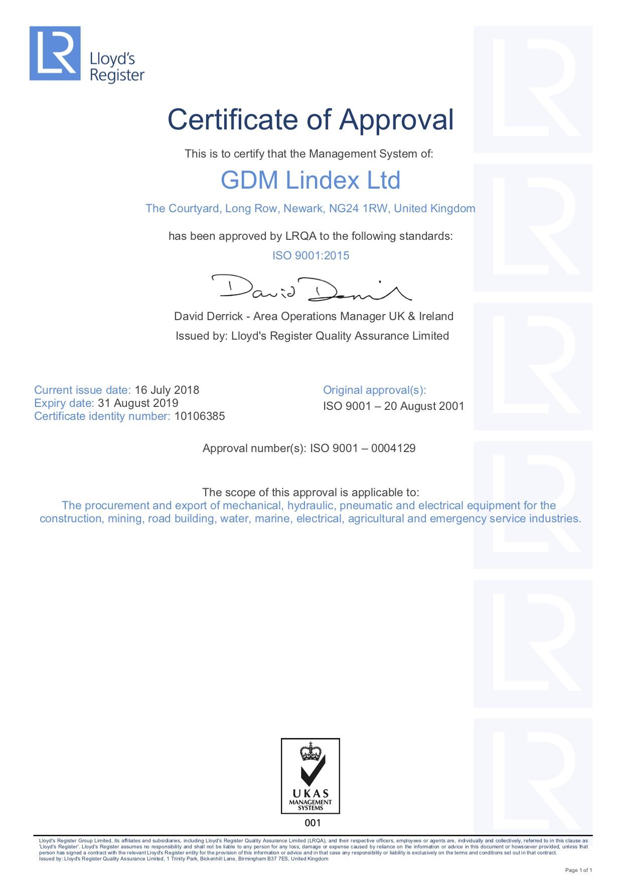 Management Approval Certificate - GDM Lindex